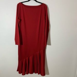 Red bodycon dress peplum hemline Plus size 18